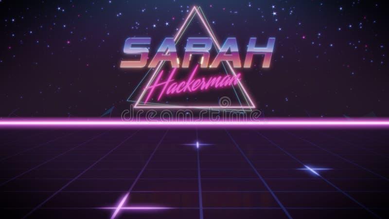 voornaam Sarah in synthwavestijl royalty-vrije illustratie