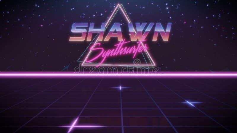 voornaam Shawn in synthwavestijl stock illustratie