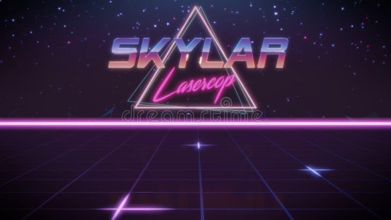 voornaam Skylar in synthwavestijl vector illustratie
