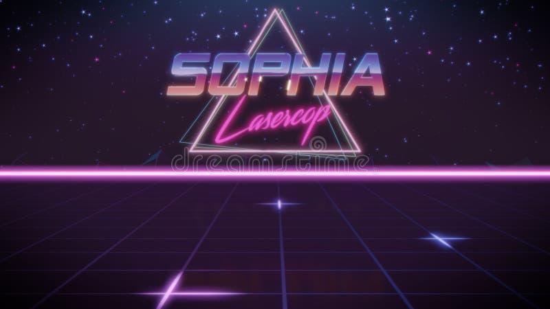 voornaam Sophia in synthwavestijl vector illustratie