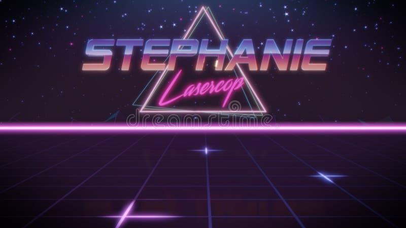 voornaam Stephanie in synthwavestijl stock illustratie