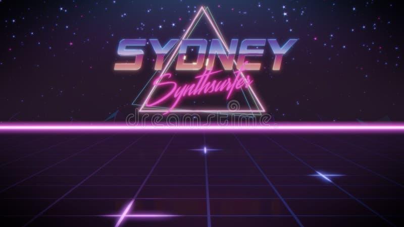 voornaam Sydney in synthwavestijl royalty-vrije illustratie