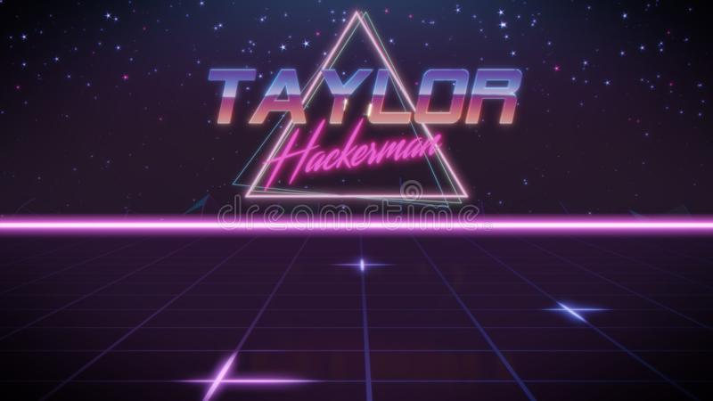 voornaam Taylor in synthwavestijl stock illustratie