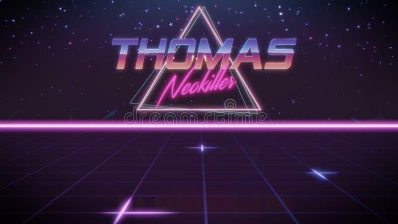 voornaam Thomas in synthwavestijl vector illustratie