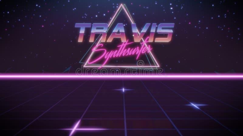 voornaam Travis in synthwavestijl vector illustratie