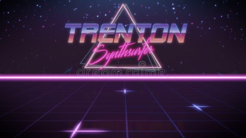 voornaam Trenton in synthwavestijl stock illustratie