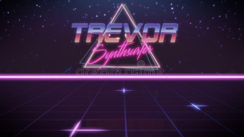 voornaam Trevor in synthwavestijl royalty-vrije illustratie