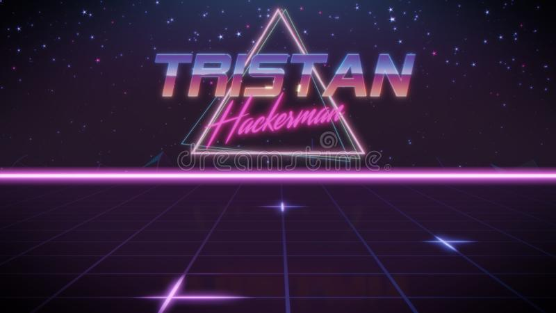 voornaam Tristan in synthwavestijl stock illustratie
