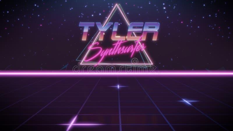 voornaam Tyler in synthwavestijl stock illustratie