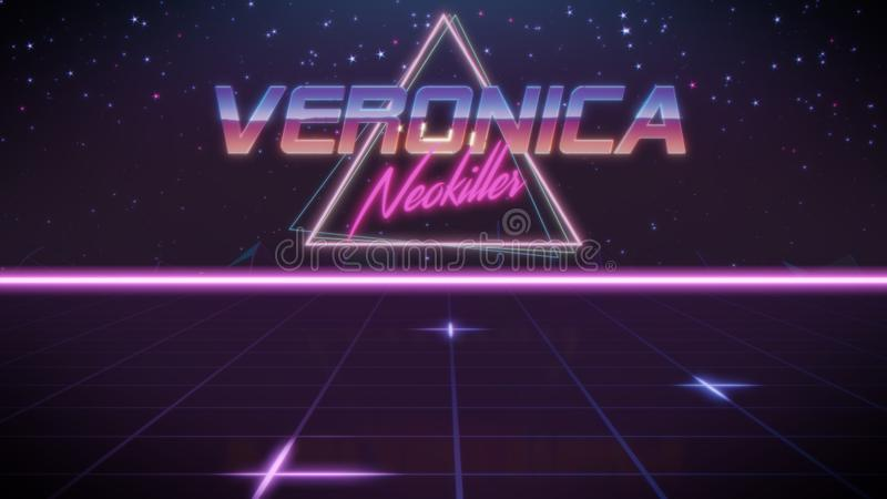 voornaam Veronica in synthwavestijl royalty-vrije illustratie