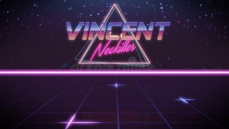 voornaam Vincent in synthwavestijl stock illustratie