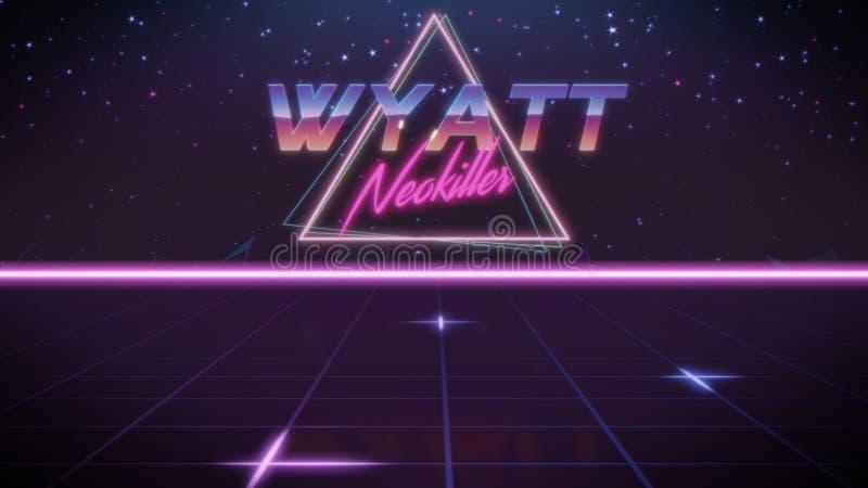 voornaam Wyatt in synthwavestijl royalty-vrije illustratie