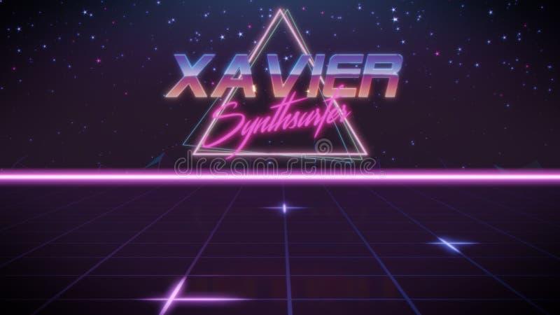 voornaam Xavier in synthwavestijl vector illustratie