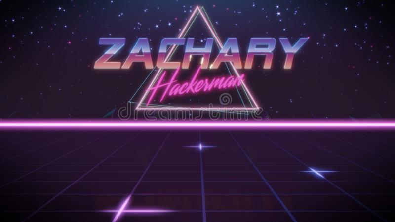 voornaam Zachary in synthwavestijl royalty-vrije illustratie