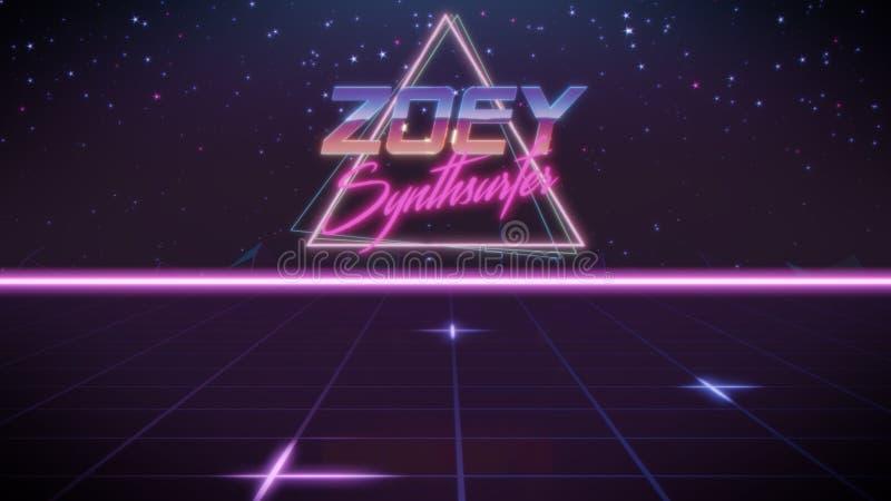 voornaam Zoey in synthwavestijl stock illustratie