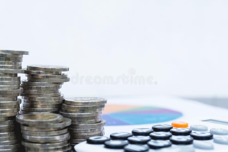 Voorraad financiële indexen met van het stapelmuntstuk en exemplaar ruimte voor inser royalty-vrije stock afbeelding