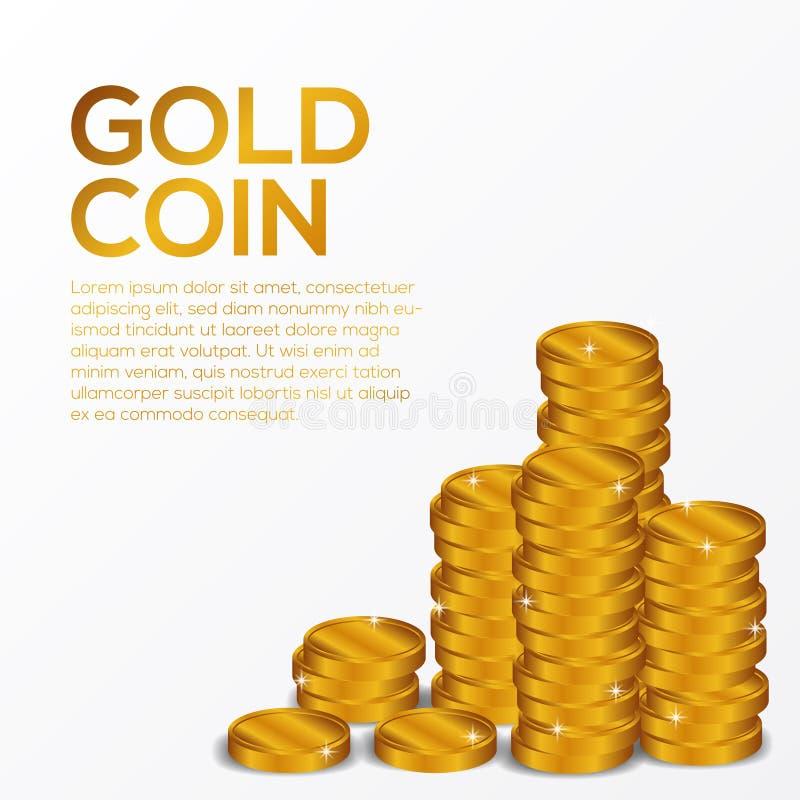 Voorraad van gouden muntstuk 3D glanzend voor financi?n, geld, gift, economie stock illustratie
