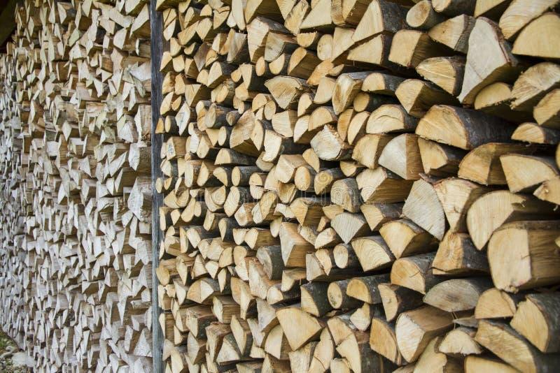 Voorraad van houten logboeken klaar voor gebruik in Duitsland royalty-vrije stock afbeeldingen
