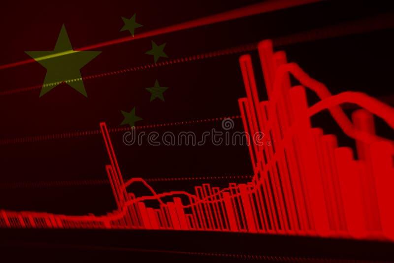 Voorraaddiagram met Vlag van China stock afbeelding