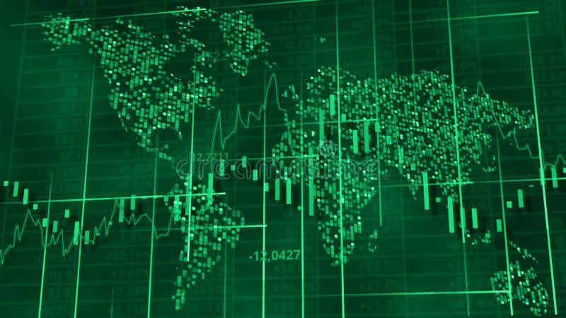 Voorraaddiagrammen, grafieken en lijsten Wereldkaart achter cijfers en lijnen het 3d teruggeven vector illustratie