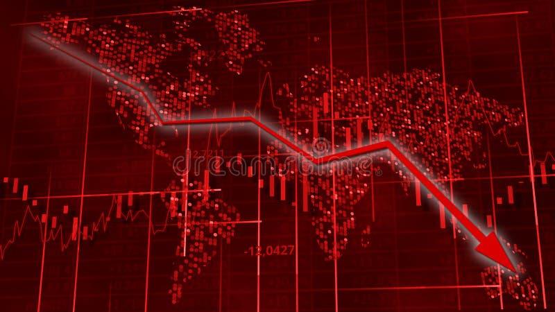 Voorraaddiagrammen met dalende pijl Wereldkaart achter cijfers, lijn en lijsten Gegevensbehang het 3d teruggeven vector illustratie