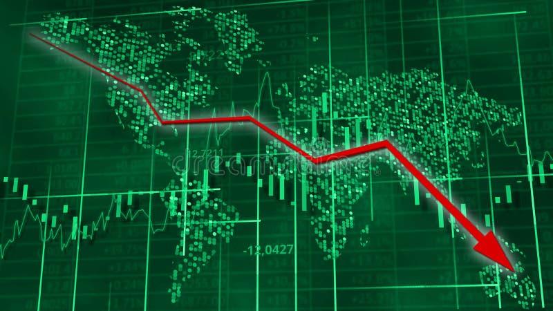Voorraaddiagrammen met rode dalende pijl Wereldkaart achter cijfers, lijn en lijsten royalty-vrije illustratie
