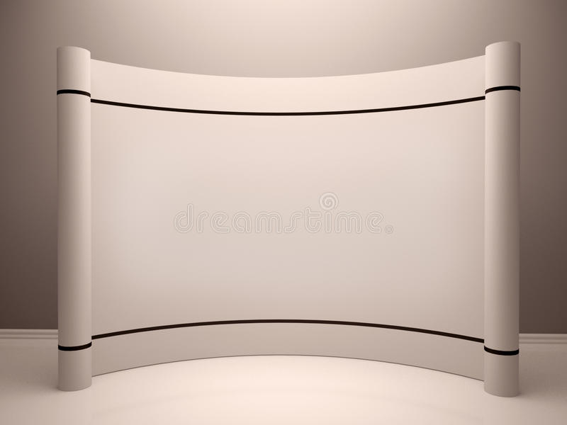 Voorraadfoto: De witte lege handel toont cabine in ruimte vector illustratie