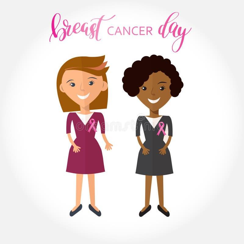 Voorraadillustratie van vrouw twee met zijde roze lint vector illustratie
