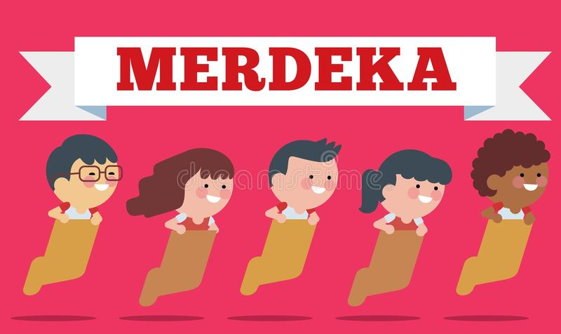 Voorraadvector van Illustratie op Hari Merdeka, Onafhankelijkheidsdag van Indonesië Vlakke illustratiestijl stock illustratie