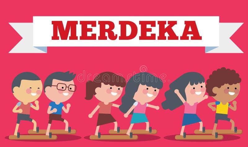 Voorraadvector van Illustratie op Hari Merdeka, Onafhankelijkheidsdag van Indonesië Vlakke illustratiestijl royalty-vrije illustratie