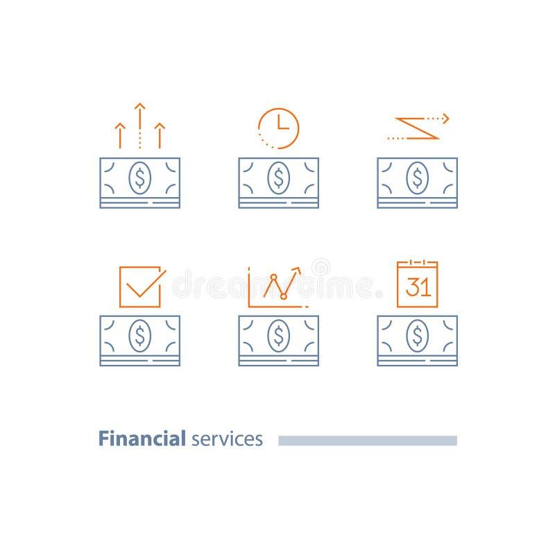 Voorschotbetaling, de dag van de kalenderbetaling, tijdspanne, de financiële overdracht van de geldbundel, leningsgoedkeuring, ja vector illustratie