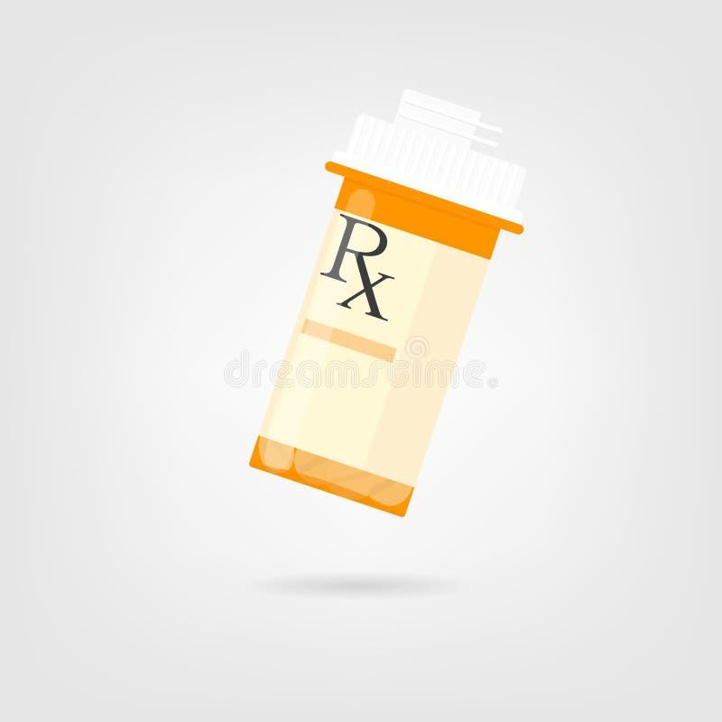 Voorschriftfles met pillen stock illustratie