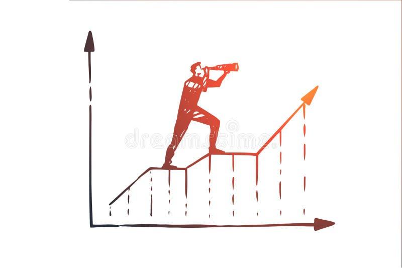 Voorspelling, grafiek, de groei, vooruitgang, diagramconcept Hand getrokken geïsoleerde vector royalty-vrije illustratie