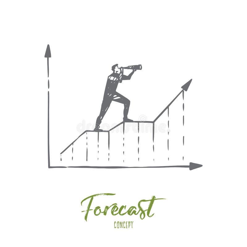 Voorspelling, grafiek, de groei, vooruitgang, diagramconcept Hand getrokken geïsoleerde vector stock illustratie