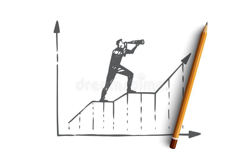 Voorspelling, grafiek, de groei, vooruitgang, diagramconcept Hand getrokken geïsoleerde vector vector illustratie
