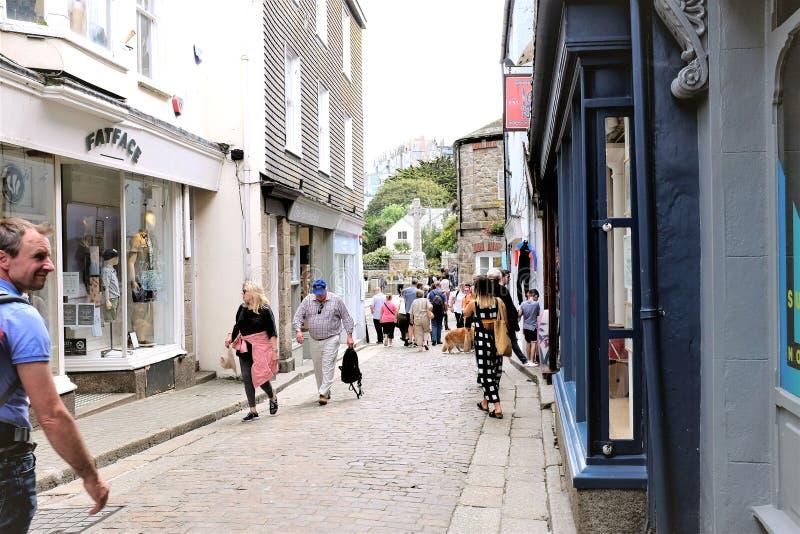 Voorstraat, St Ives, Cornwall, het UK stock afbeeldingen