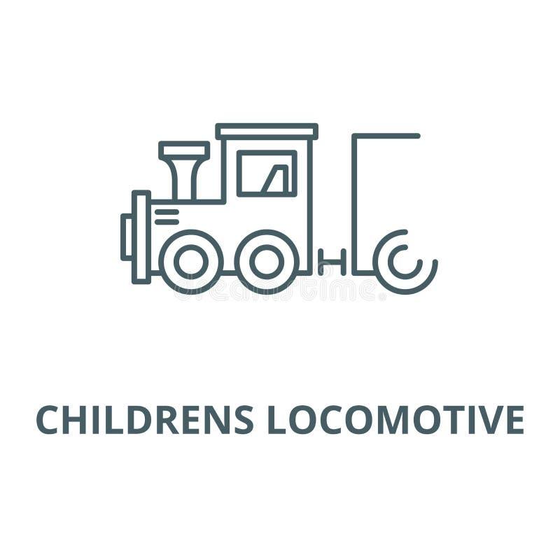 Voortbewegings vector de lijnpictogram van kinderen, lineair concept, overzichtsteken, symbool stock illustratie