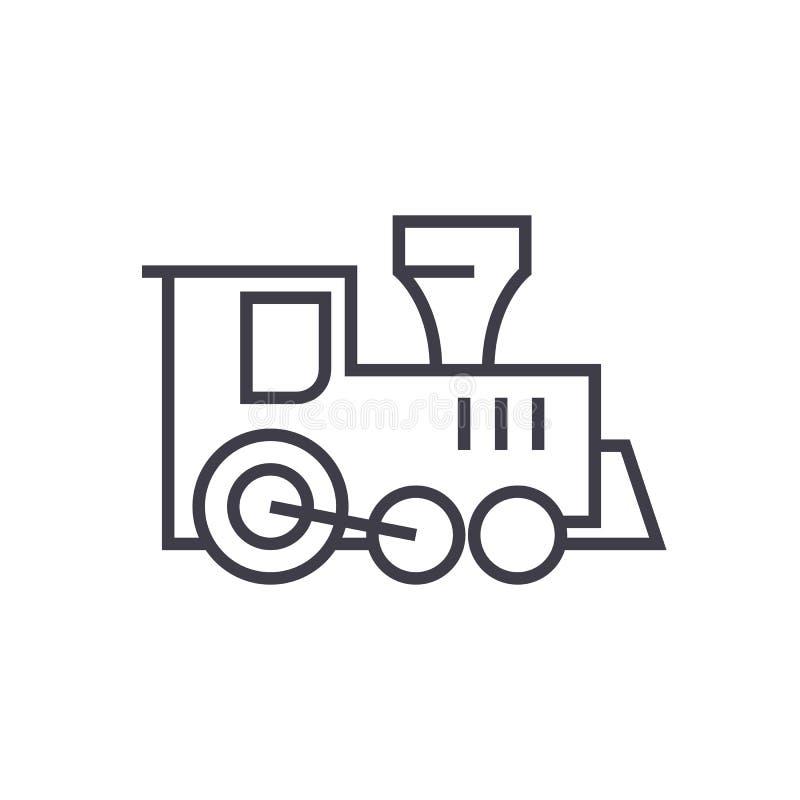 Voortbewegingstreinstuk speelgoed vectorlijnpictogram, teken, illustratie op achtergrond, editable slagen vector illustratie