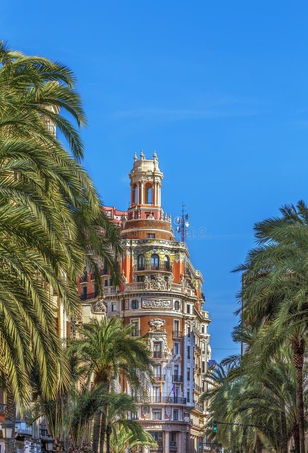 Voortbouwend op vierkant van het Stadhuis, Valencia, Spanje stock foto's