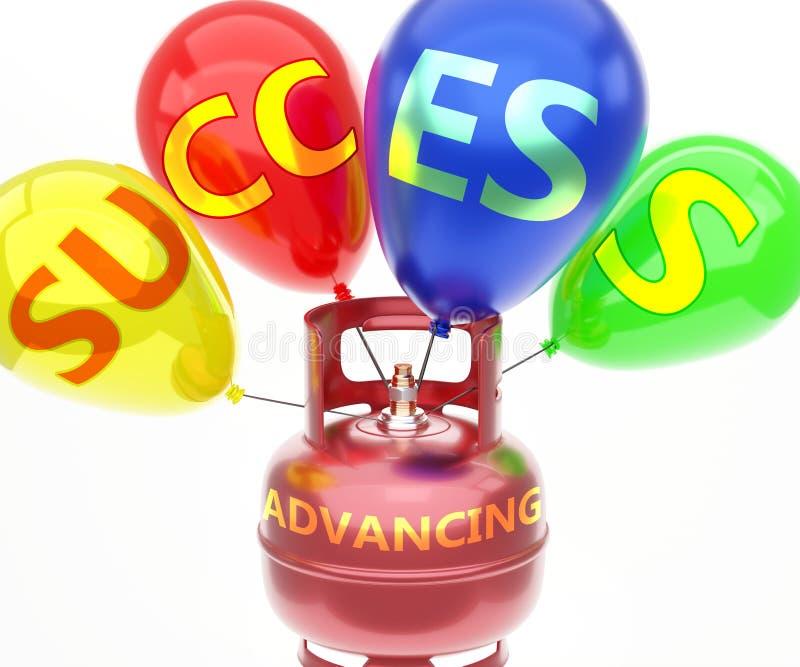 Vooruitgang en succes - weergegeven als woord 'Advancing' op een brandstoftank en ballonnen, om te symboliseren dat het succes va stock illustratie