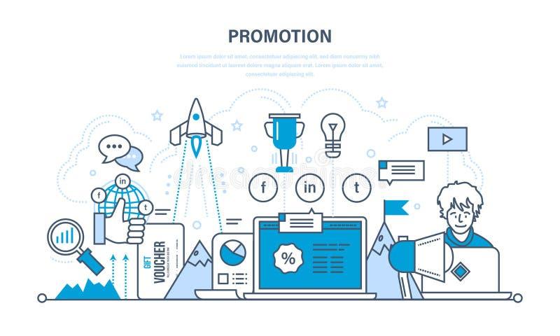 Vooruitgang in het werk en zaken, succes, bevorderingen, de diensten stock illustratie