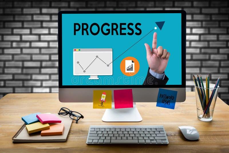 VOORUITGANG op het Bedrijfsprestaties Brandmerken Strategie, Goede Progr stock afbeeldingen