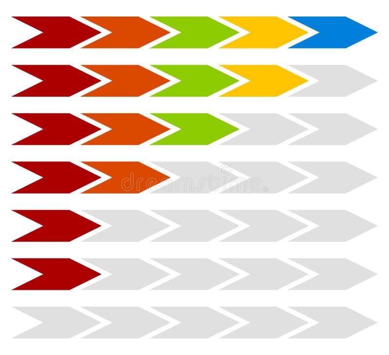 Vooruitgang, stap, vlakke indicatoren met 5 stappenpijlen royalty-vrije illustratie