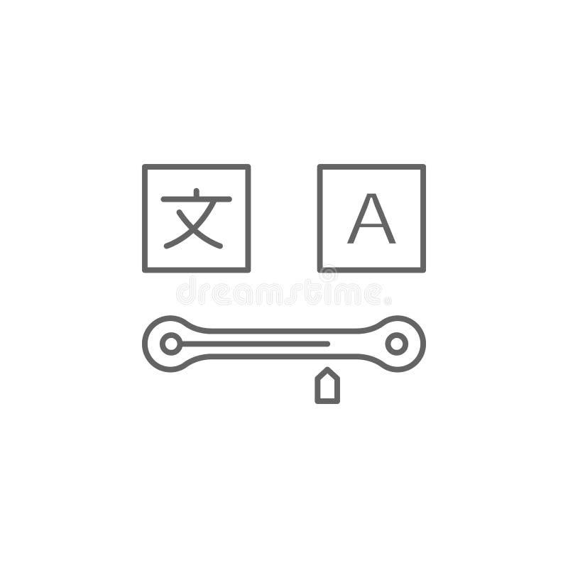 Vooruitgang, vertalerspictogram Element van vertalerspictogram Dun lijnpictogram voor websiteontwerp en ontwikkeling, app ontwikk vector illustratie
