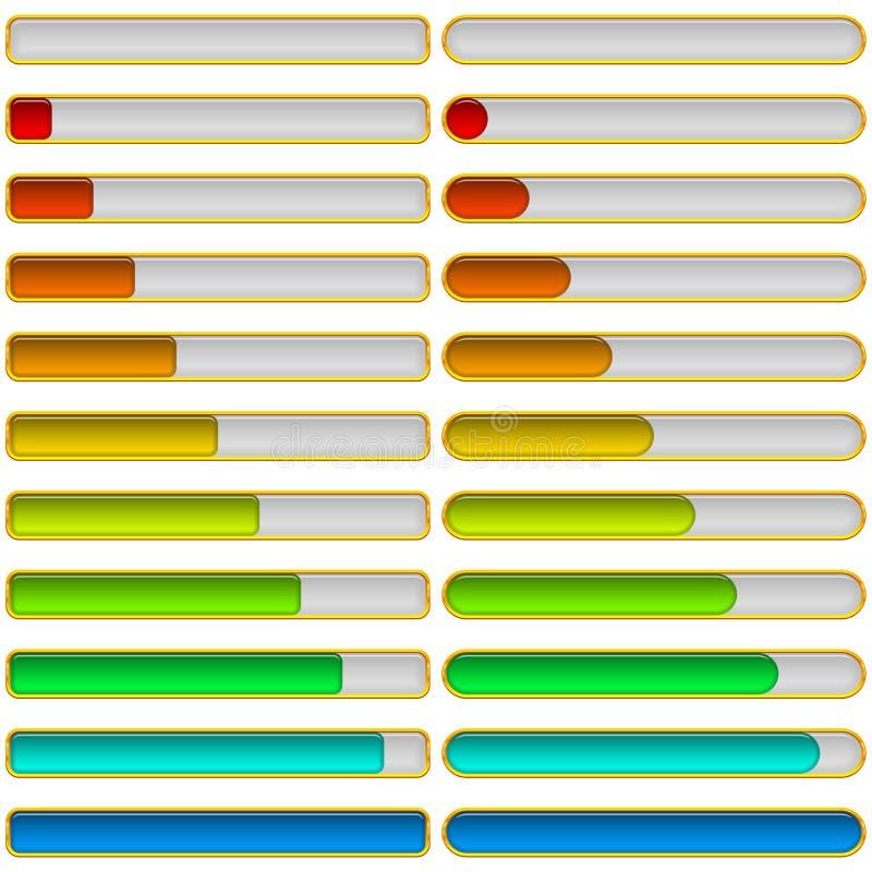 Vooruitgangsbars, reeks vector illustratie
