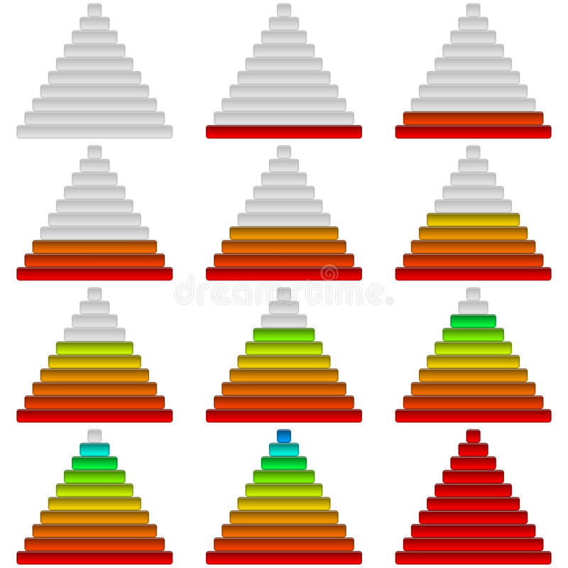 Vooruitgangsbars, reeks, piramides royalty-vrije illustratie