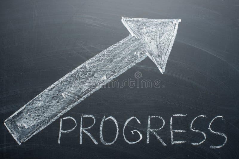 Vooruitgangsinschrijving en een pijl omhoog op whiteboard Het concept de groei, stijgend inkomen, en vooruitgang royalty-vrije stock afbeelding