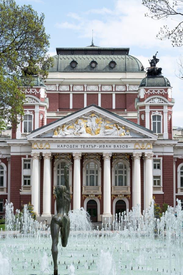 Voorvoorgevel van het Nationale Theater, Sofia, Bulgarije royalty-vrije stock foto