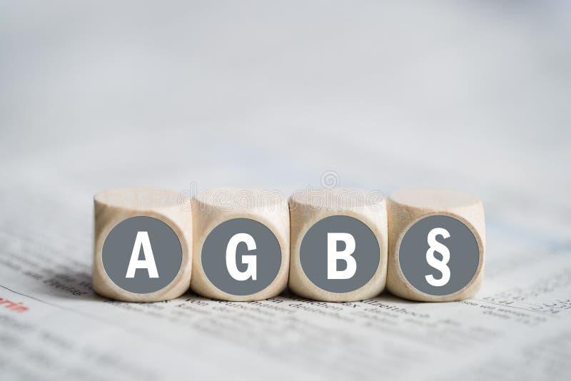 Voorwaarden als Duits acroniem AGB royalty-vrije stock afbeelding