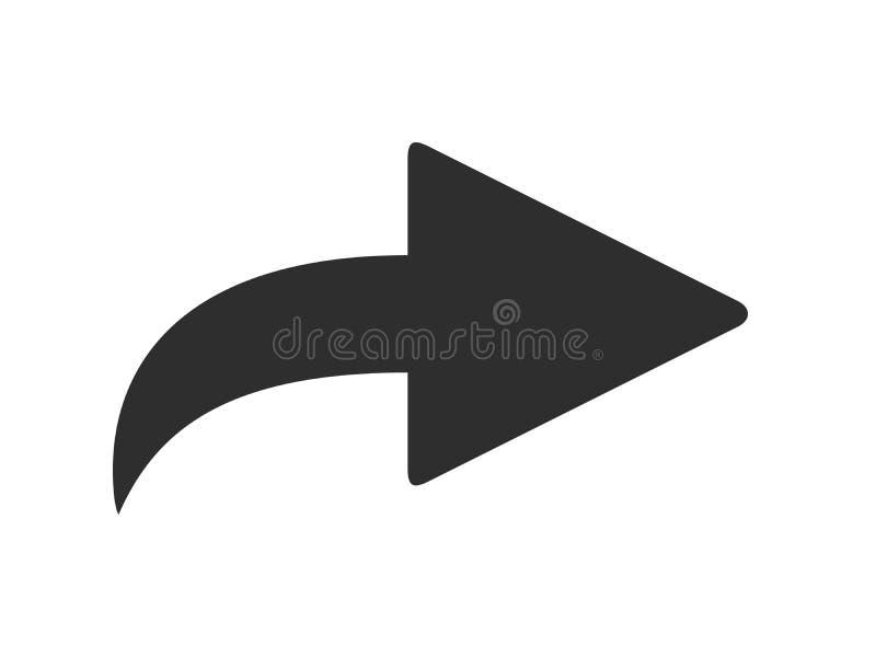 Voorwaarts pictogram Door:sturen e-mailpijl, gebogen juiste wijzer en het vectorsymbool van het aandeelpictogram vector illustratie